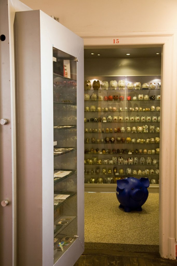 The safe storage for the collection of piggy banks in a strong room in Stuttgart's pig museum