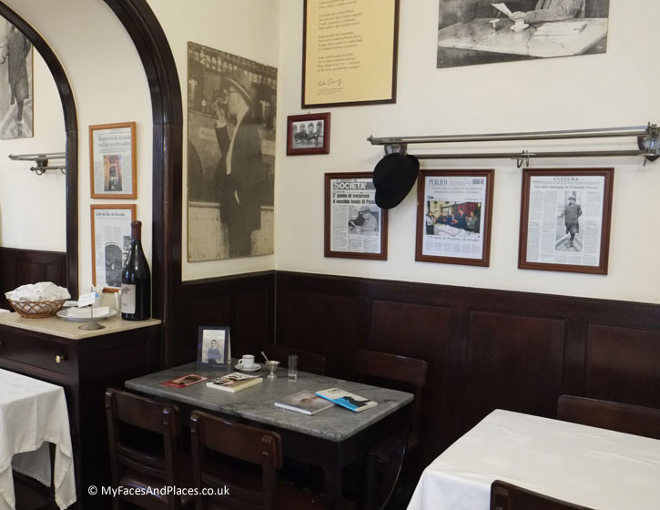 Martinho da Arcada - The table permanently reserved for Fernando Pessoa. The table displays copies of his books together with his cup of coffee.