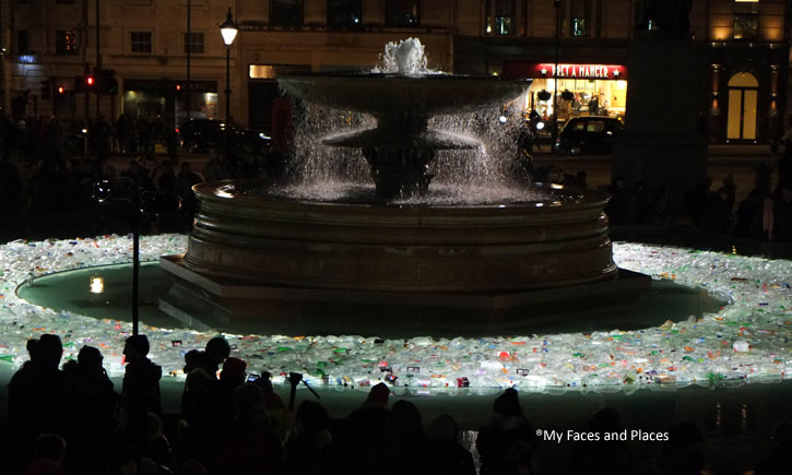 11. Plastic Islands - Empty plastic bottles form a circular island in one of the fountains in Trafalgar Square. Perhaps is it symbolic of one of our current environmental issues?