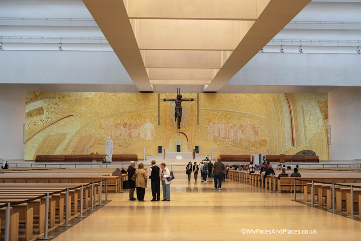 The modern interior of the new Basilica at the Fatima Shrine.