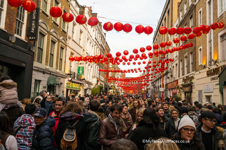 Crowds in Gerrard Street – the main street of China Town.