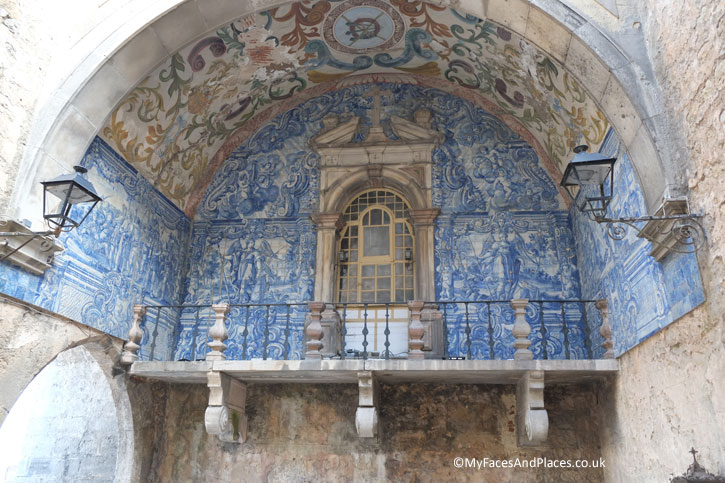 The ornate fresco in Azulejo blue and white tiles at the Obidos Town Gate.