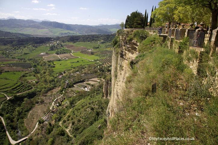 Stunning vista of the valley and Serrania de Ronda mountains.