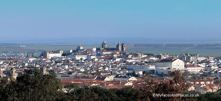 View of the Medieval Town of Evora. Evora is the capital of Alentejo.
