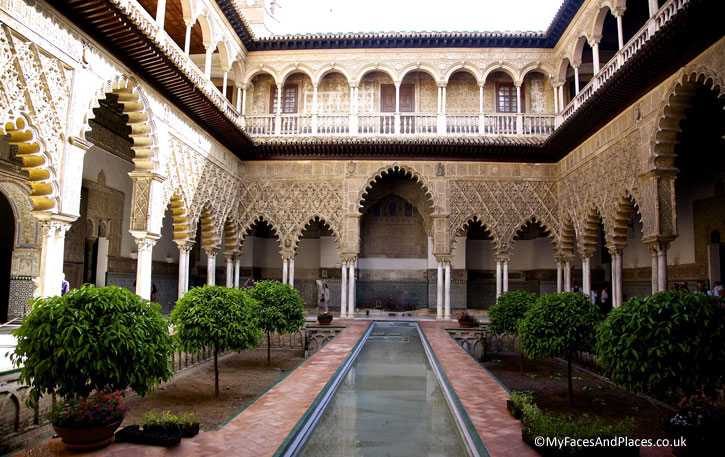 """ Sunken Garden of Paradise"" with the reflecting pool at the Royal Alcazar in Seville."