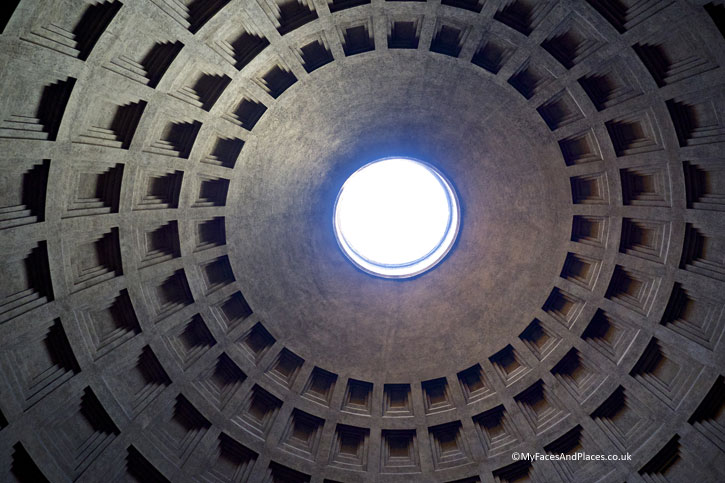 The mystical oculus in the Roman Pantheon in Rome (A Roman Holiday)