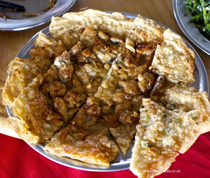 Crispy oyster omelette served in Lim Hock Ann Seafood Restaurant