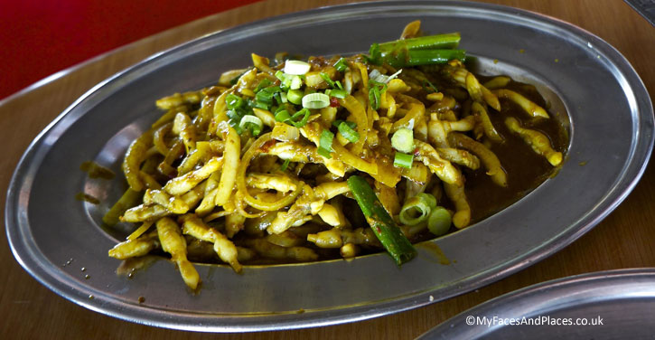 Stir-fried bamboo clams in curry powder and chillies served in Lim Hock Ann Seafood Restaurant