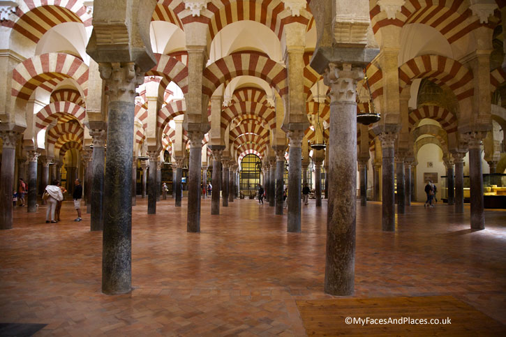 The iconic pillars of the interiors of the Mosque-Cathedral of Cordoba