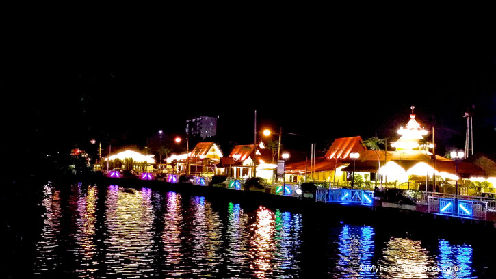 Night View of Kampung Morton as seen on the Melaka River Cruise.