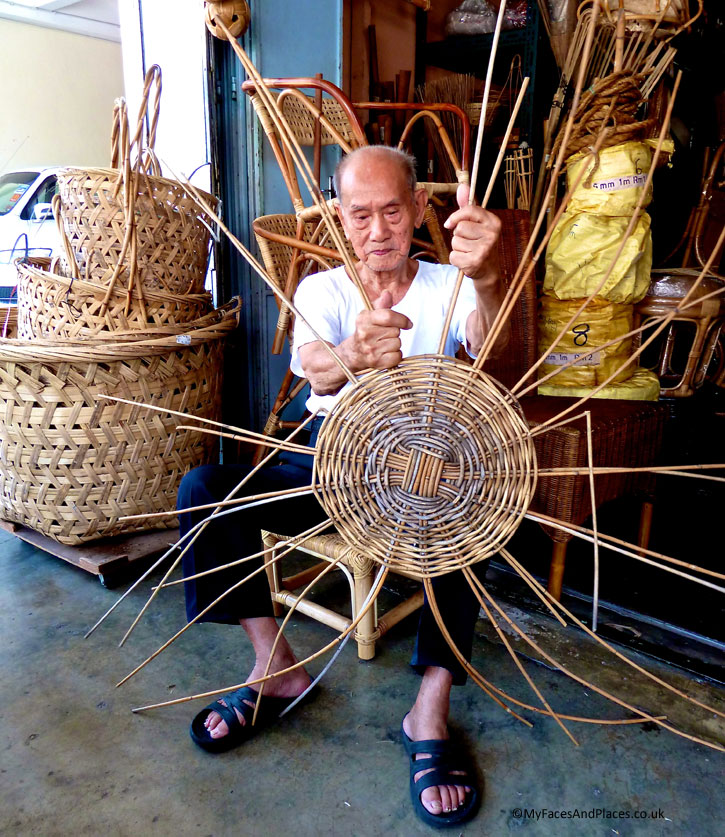 Seang Hin Leong - Wicker basket maker. One of the last remaining rattan and bamboo artisans working in the World Heritage Site.