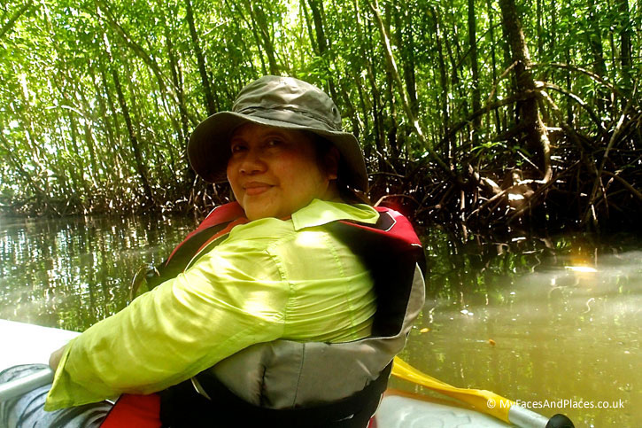 Gaya Island Resort - Helen kayaking into the mysterious mangrove forest