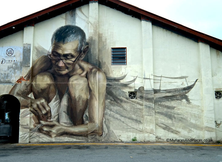 """""""The Old Fisherman"""". It depicts the traditional craft of fishing in small boats and the fishing villages in Penang."""