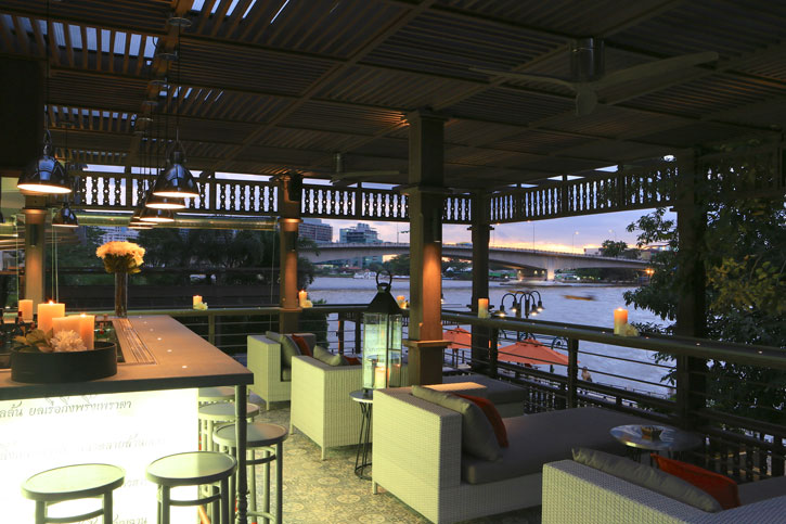 A beautiful view of the river from the chic bar.