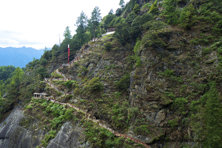 The steps descending to the temples from the View Point - Bhutan Tiger's Nest