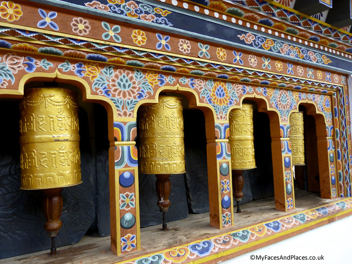 Prayer wheels are present in every Dzongs for worshippers to send prayers to heaven as they spin the wheels - Bhutan the Beautiful