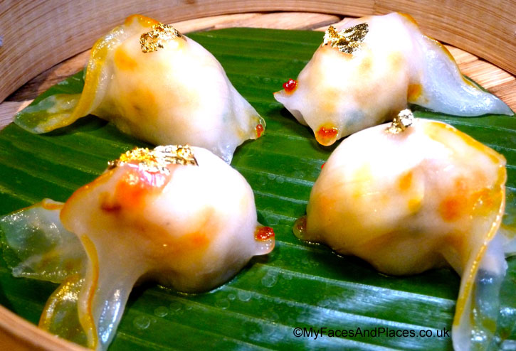 "Abalone and Lobster ""gold fish"" dumplings with edible gold leaves in Chai Wu @ Harrods."
