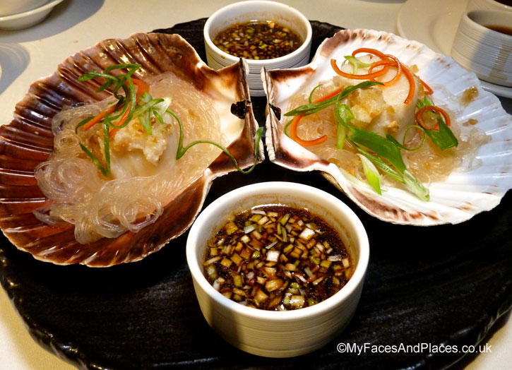 Sweet and succulent scallops with soya sauce infused with flavoured oil in Chai Wu @ Harrods.