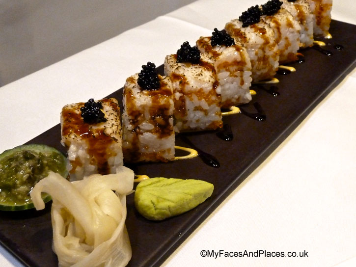 Harrods Rolls garnished with beluga caviar served with pickled ginger in Chai Wu @ Harrods.