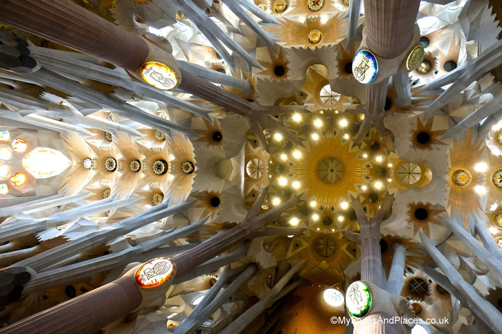 The magnificent vaulted ceiling of the Sagrada Familia in Barcelona, Spain