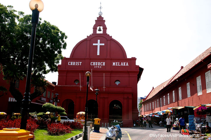 The famous red Christ Church, a legacy from the Dutch era in Malacca