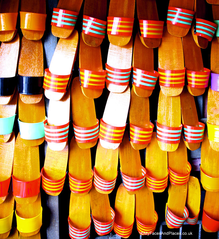 Colourful wooden clogs are some of the traditional crafts in the city of Malacca
