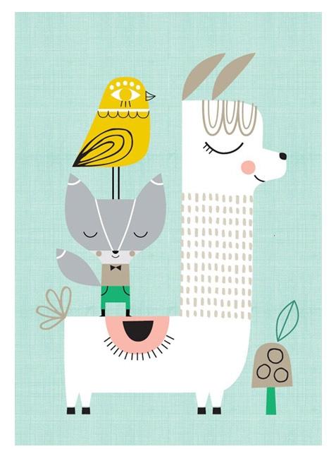 Poster mit Lama, Fuchs und Vogel