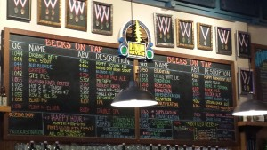 Beer menu at Russian River Brewery - Santa Rosa, CA