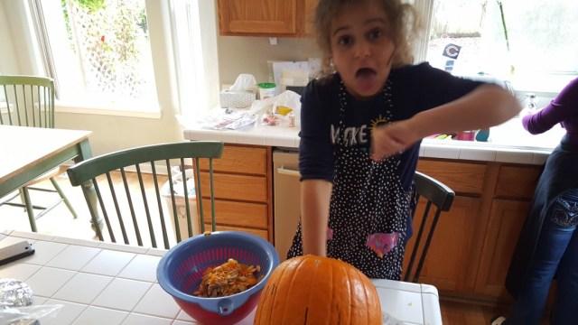 Ewww! Pumpkin guts!