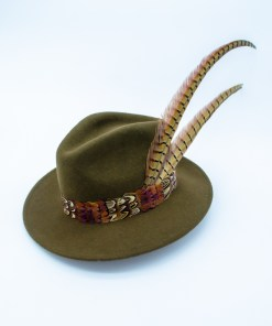 My Fancy Feathers Fedora Hat in Green, with pheasant feather accent