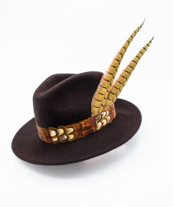 My Fancy Feathers Fedora Hat in Navy Blue, with pheasant feather accent