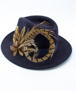 My Fancy Feathers Fedora Hat in Navy Blue, with pheasant feather plume.