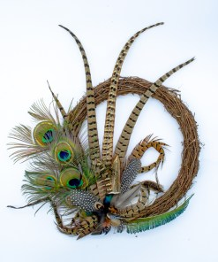 My Fancy Feathers Wreath with mixed feathers including Pheasant, Guinea Fowl and Peacock