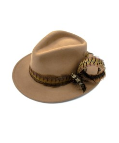 My Fancy Feathers Fedora Hat in Camel, with feather plume