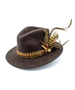 My Fancy Feathers Fedora Hat in Brown, with Pheasant Feather Twirl