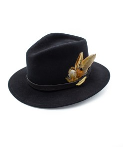 Black coloured Fedora Hat with Gamebird Feathers and golden pin badge.