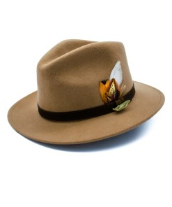 Camel Fedora with Gamebird Feathers and golden pin badge.