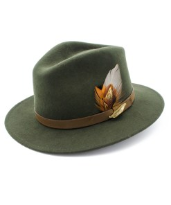 Green coloured Fedora Hat with Gamebird Feathers and golden pin badge.