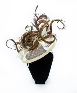 Feather Fascinator, using Pheasant Tail Feathers on a cream band.