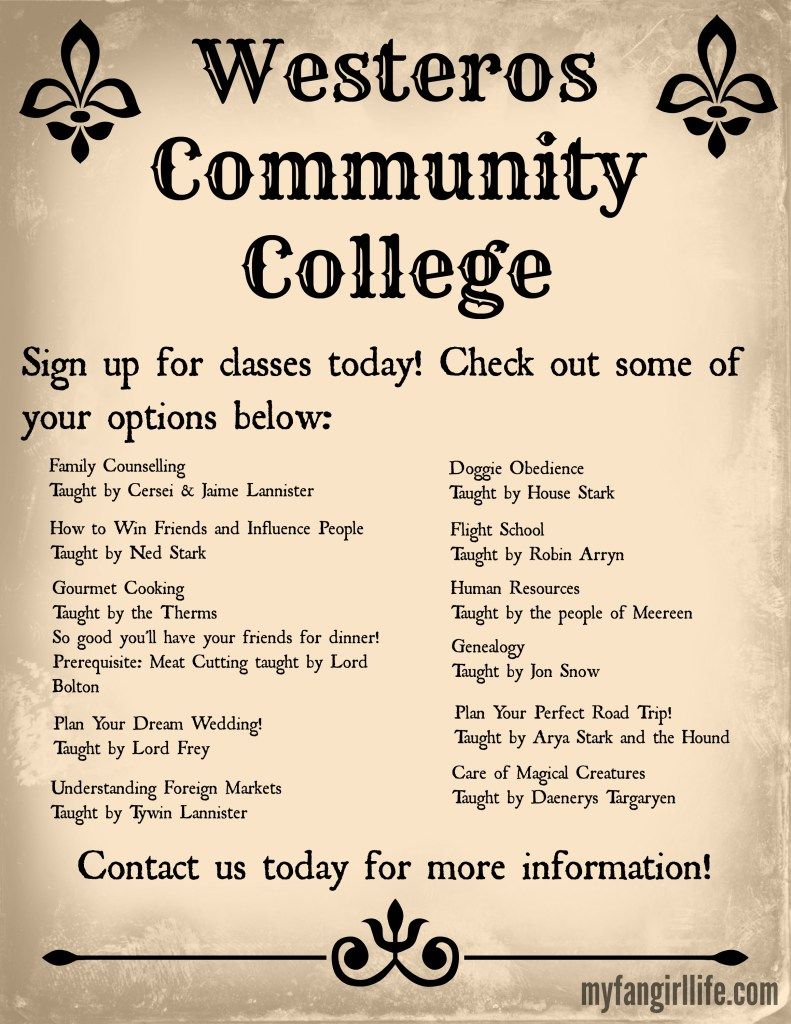 Westeros Community College Poster