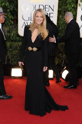 """""""I went for comfort"""" claims Kate Hudson in a cutout Alexander McQueen gown."""