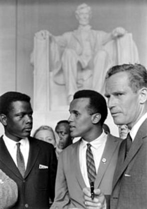 Sidney Poitier, Harry Belafonte, and Charlelton Heston at the Lincoln Memorial, August 28, 1963