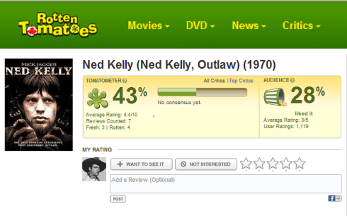 Ned Kelly 1970 Rotten Tomatoes