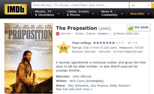THE PROPOSTION imdb review