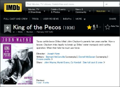 King of the Pecos IMDB review