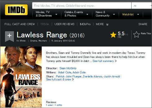 Lawless Range 2016 IMDB review