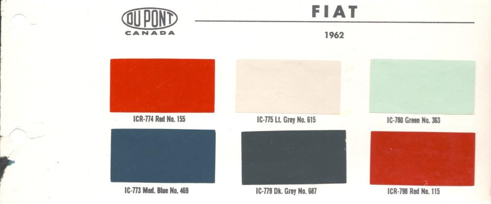 medium resolution of 1962 dupont fiat paint codes