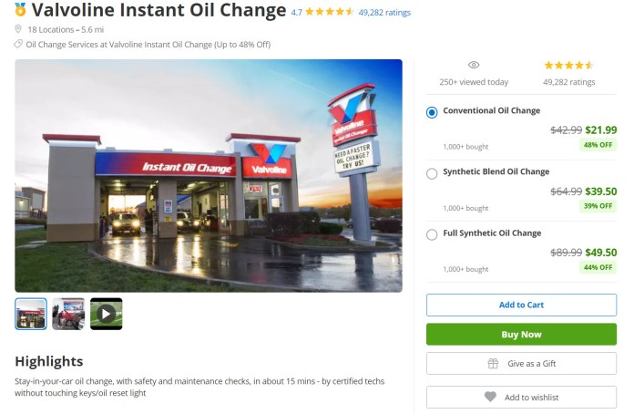 cash savings with oil change using Groupon - My Financial Hill