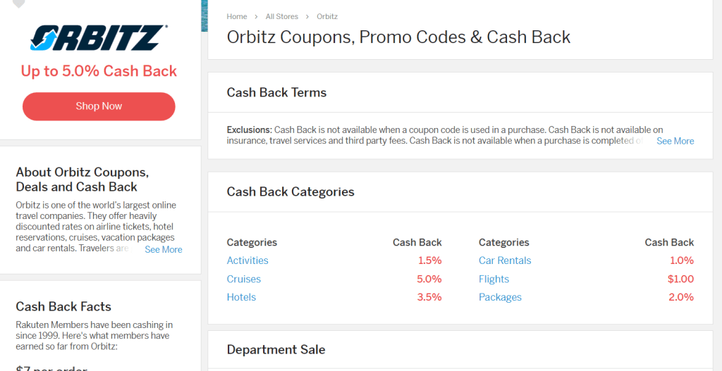Rakuten cash back for booking hotel through orbitz - My Financial Hill