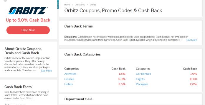 Rakuten cash back for booking hotel through orbitz - My Financial Hill